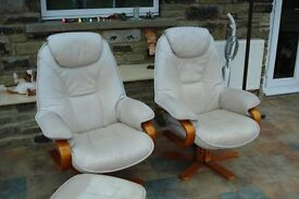 Recliner Chairs (pair) with footstools.