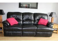 3 + 2 Seater Sofas - Black Leather Manual Recliner