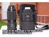 Nikon AF 80-200 1:2.8 & Sigma AF 120-400 1:4.5 - 5.6 APO HSM lens