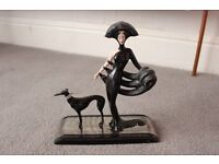 Collectable Lady and Dog Erte Figure Ornament