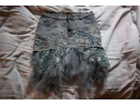 Stunning Embroidered Denim Skirt with Lace and Sequined Bird!
