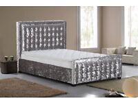 Top quality Crushed Velvet Bed Frame Button Detailed Headboard & Footboard FREE Delivery