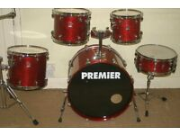 "Premier XPK Rosewood Lacquered 5 Piece Drum Kit (22"" Bass"") - Made In England - DRUMS ONLY"