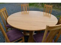 Solid Golden Oak Dining Table & Chairs