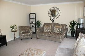 Four Piece Grey Fabric Suite with Storage Footstool
