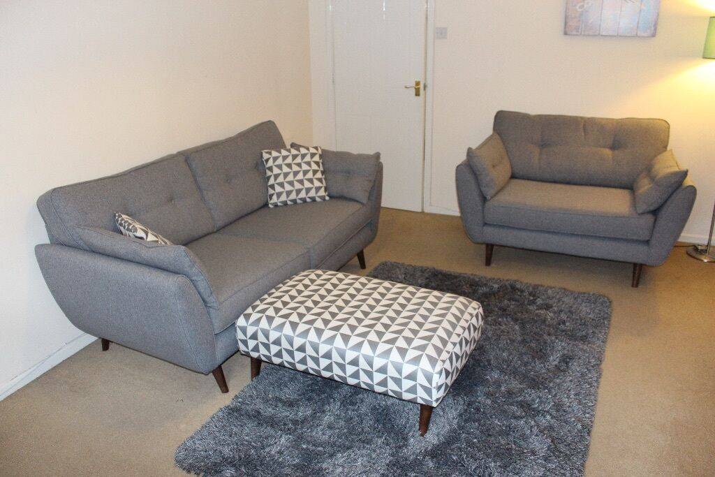 French Connection Zinc Sofas And Patterned Footstool And