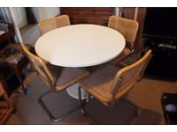 Retro White Dining Table & 4 Chairs