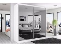 Brand New BERLINS 2 Door Sliding Wardrobe with Mirrors, Hanging Rails in Black/White/Wenge/Walnut
