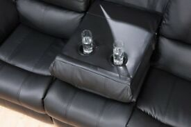 *~*~*BRAND NEW LEATHER RECLINER SOFAS*~*~*FREE DELIVERY Monaco Black*~*~*