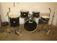 Pearl Forum FZ Series Black 5 Piece Rock Drum Kit ISS Mounts 22in Bass Sabian Cymbals - £425 ono