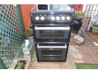 hotpoint ceramic electric cooker 50 cm double oven like new