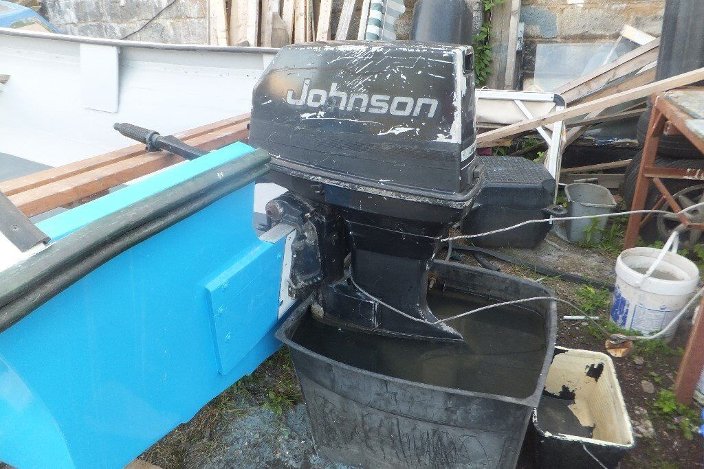 40 hp commercial johnson outboard,tiller,s/shaft,serviced a1 running con