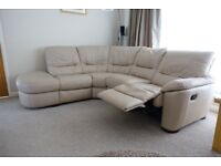 Leather corner Chaise recliner sofa and matching electric recliner armchair in Ivory.