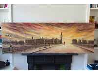 Beautiful Large London Canvas Painting - Parliament, Westminster Bridge, Big Ben