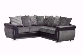 The Luxury Helix Chenille Fabric And Leather Corner Sofa ** FREE DELIVERY ** FOOTSTOOLS/CHAIRS