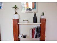 DIY Refurbished wood shelf / bookshelf - red & white