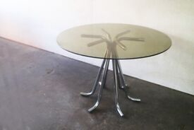 1970's retro mid century small glass topped dining table