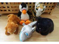 5 small soft toys - a puffin, a tiger cub, a black bear cub, a lion cub and a shark