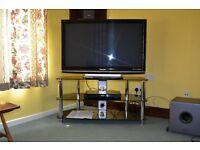 "Panasonic viera plasma television 42"". Panasonic DVD recorder and stand"