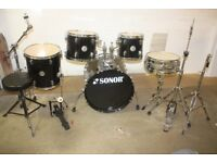 Sonor Force 505 Series Black 5 Piece Full Drum Kit (20 in bass) + Stands + Stool + Cymbals