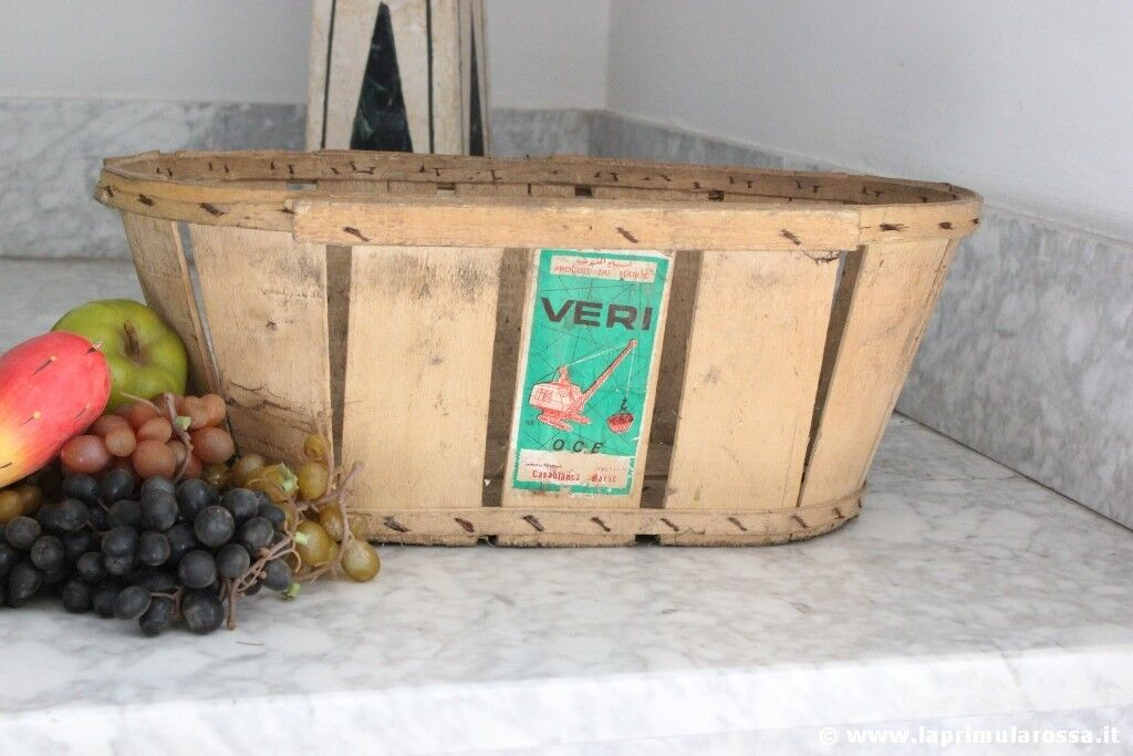 CESTO INDUSTRIALE VINTAGE IN LEGNO CESTO SHABBY   VINTAGE FRENCH LAUNDRY BASKET