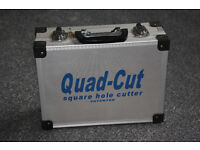 Quad-cut square hole cutter for pattress box fitting.