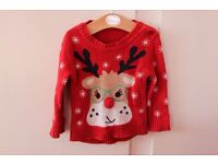Mothercare Christmas Jumper Red with Reindeer and Snowflakes 6-9months