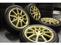 Genuine Enkei/Subaru Impreza widetrack 17x8J 5x114.3 alloy wheels + Matching Hankook V12 Tyres!!
