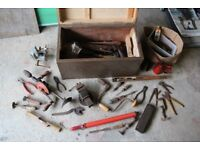 Old hand tools and wooden box