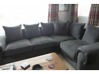 Corner Sofa and Chair in Charcoal Grey material and suede leather in excellent condition