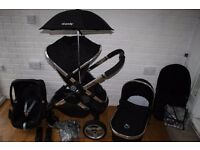 Icandy Peach 2 Black Magic pram + Maxi Cosi car seat 3 in 1 travel system extras CAN POST