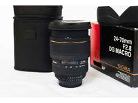 SIGMA 24-70mm f2.8 EX DG MACRO Zoom lens NIKON fit.