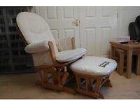 Tutti Bambini Fleur Glider Chair and Stool - Oak - Nursing Chair