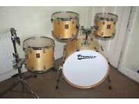Premier XPK Natural Lacquered 4 Piece Drum Kit with Gold / Brass Lugs - Made In England - DRUMS ONLY