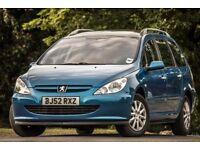 Peugeot 307 sw 2.0 hdi 90bhp metallic blue diesel sunroof MOT 15.09.2019