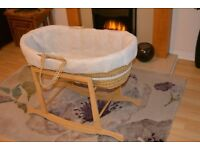 Clair de Lune Deluxe Moses Basket and Wooden Rocking Moses Basket Stand
