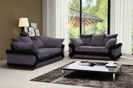 Brand New🚚 🚛BEST SELLING🚚 🚛BLACK+GREY/BROWN+BEIGUE🚚 🚛Dino Jumbo Cord Corner/3+2 Seater Sofa