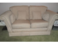 2 x 2 Seater Settee - Cream patterned Fabric - Matching cushions - Good Condition