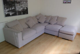 Large contemporary Corner sofa with foot stool, cleaned and ready for collection
