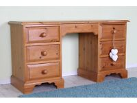 Solid quality pine dressing table/desk 7 drawers waxed finish - can courier