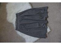 Black and White Striped Midi Skirt Size 10