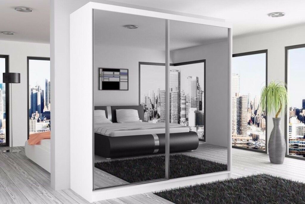WOW Brand New Berlin Full Mirror 2 Door Sliding Wardrobe in Black Walnut White
