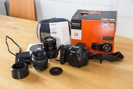 Sony SLT- A57 Translucent Mirror DSLR and Two Lenses