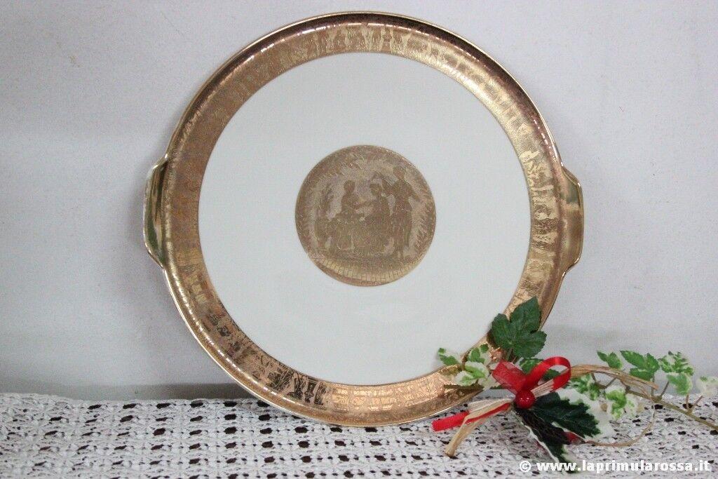 PIATTO VASSOIO VINTAGE IN CERAMICA E ORO  TRETTAU BAVARIA GOLD SERVING PLATTER