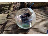 NEW Fish bowl aquarium with starter kit