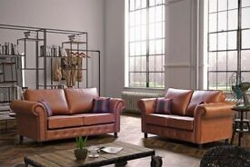 Tan or black faux leather settees. 3+2. 8 left.