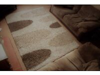 Large Beige and Brown Shaggy Rug 160 X 230