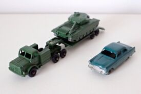 Lesney Tank with transporter and Ford Zodiac Car
