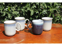Four Large Stylish Vintage Denby Linen Fluted Coffee / Tea Mugs / Cups