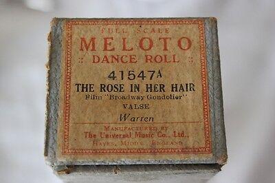 THE ROSE IN HER HAIR  RULLO D'EPOCA PER PIANOFORTE o AUTOPIANO  OLD DANCE ROLL